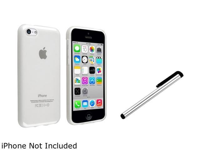 Insten Frost Clear TPU Rubber Case with Silver Stylus Compatible with Apple iPhone 5C 1530208
