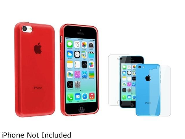 Insten Red TPU Rubber Case with 2 LCD Kit Screen Shield Compatible with Apple iPhone 5C 1530233