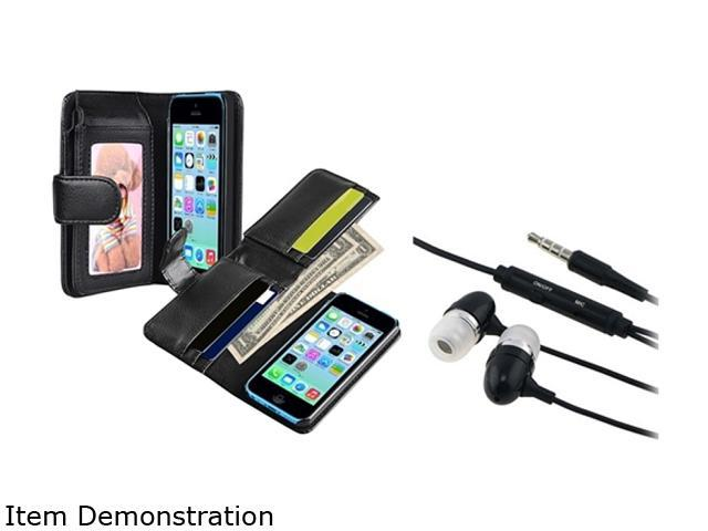 Insten Black Wallet Leather Case with Black In-ear (w/on-off) Headset Compatible with Apple iPhone 5C 1530305