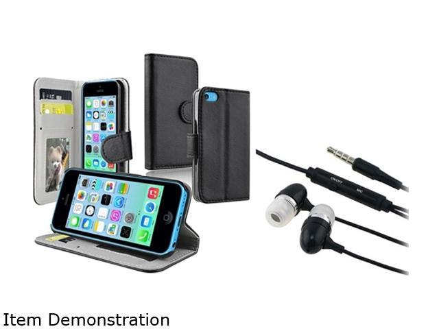 Insten Black Wallet with Stand Leather Case with Black In-ear (w/on-off) Headset Compatible with Apple iPhone 5C 1530306