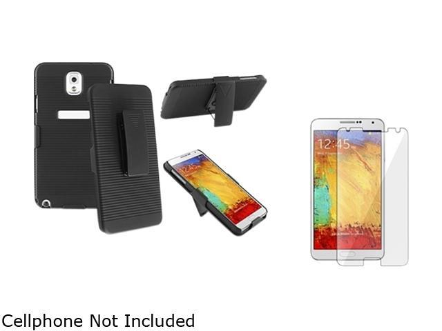 Insten Black Swivel Holster with Stand Case with Screen Protector Compatible with Samsung Galaxy Note 3 1566771