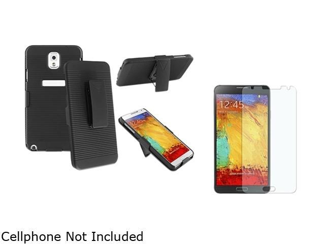 Insten Black Swivel Holster with Stand Case with Anti-Glare LCD Cover Compatible with Samsung Galaxy Note 3 1566772