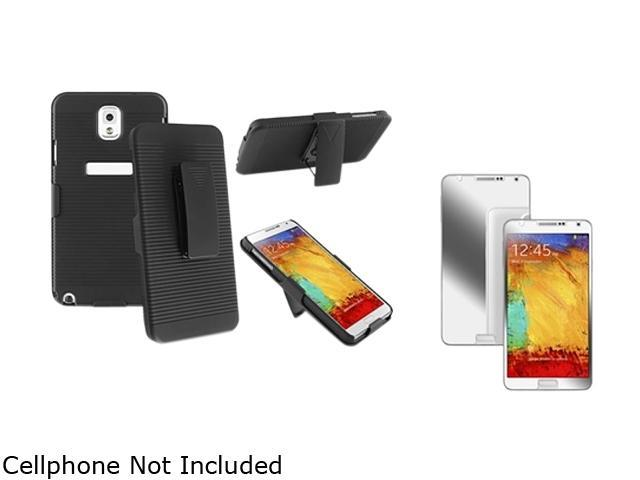 Insten Black Swivel Holster with Stand Case with Mirror Screen Protector Compatible with Samsung Galaxy Note 3 1566773