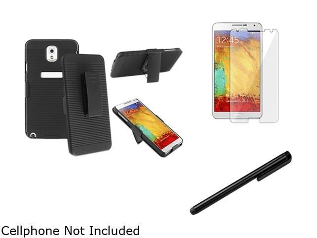 Insten Black Swivel Holster with Stand Case with LCD Cover And Stylus Pen Compatible with Samsung Galaxy Note 3 1566778