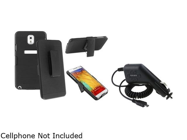 Insten Black Swivel Holster with Stand Case with 1 Car Charger Compatible with Samsung Galaxy Note 3 1566780
