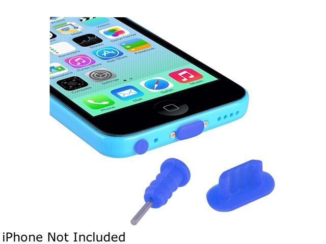 Insten Blue 2 Packs of Headset Dust Cap with SIM Card Eject Pin & Charging Dock Port Plug for iPhone 5/ 5S/ 5C 1572662