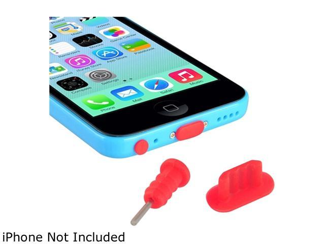 Insten Red 2 Packs of Headset Dust Cap with SIM Card Eject Pin & Charging Dock Port Plug for iPhone 5/ 5S/ 5C 1572664