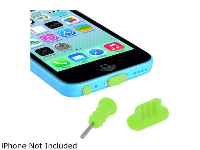 Insten Green 2 Packs of Headset Dust Cap with SIM Card Eject Pin & Charging Dock Port Plug for iPhone 5/ 5S/ 5C 1572666