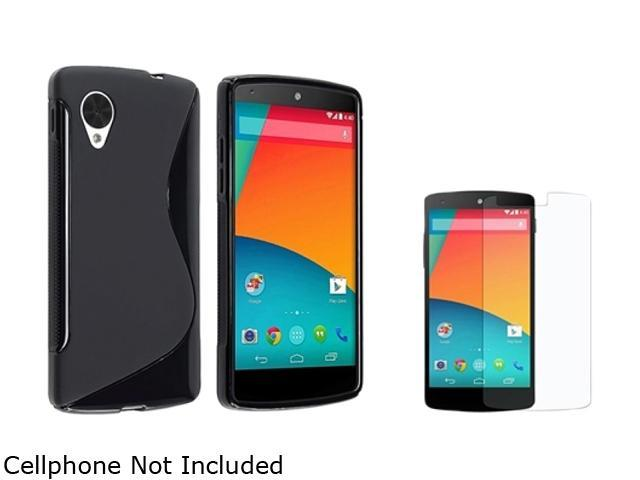 Insten Black S Shape TPU Rubber Case with Anti-Glare LCD Cover Compatible with LG Nexus 5 E980 1593929