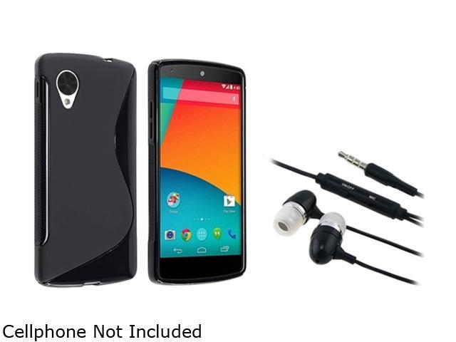 Insten Black S Shape TPU Rubber Case with In-ear (w/ on-off) Stereo Headsets Compatible with LG Nexus 5 E980 1593930
