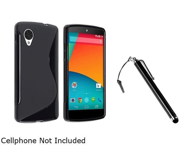 Insten Black S Shape TPU Rubber Case with Black Stylus Pen Compatible with LG Nexus 5 E980 1593931