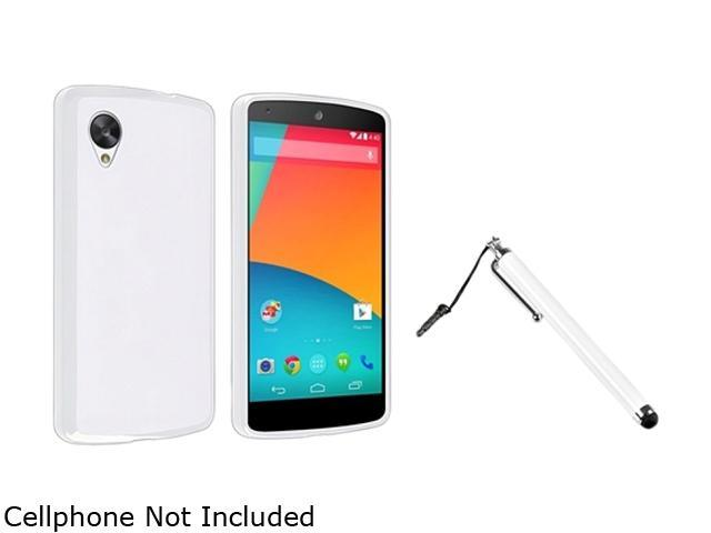 Insten White Jelly TPU Rubber Case with White Stylus Pen Compatible with LG Nexus 5 E980 1593959