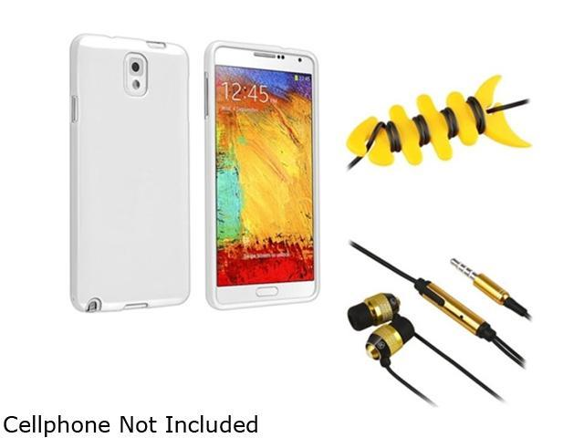 Insten White Jelly TPU Case + Yellow Fishbone Headset Smart Wrap + Gold / Black In-ear (w/ on-off) Stereo Headset1599464