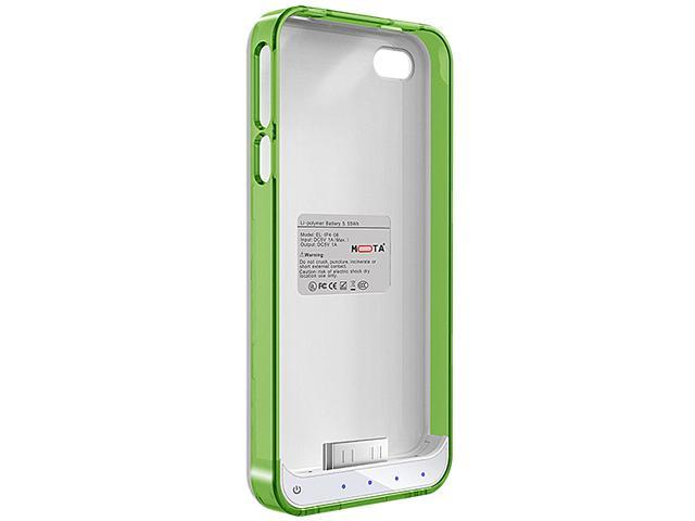 Mota Green and White Protective Battery Case for iPhone 4/4S AP4-15CG