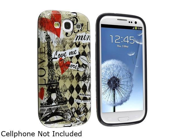 Insten Multiple Paris Amour TPU Rubber Case Compatible with Samsung i9300 Galaxy S3 S III 1299531