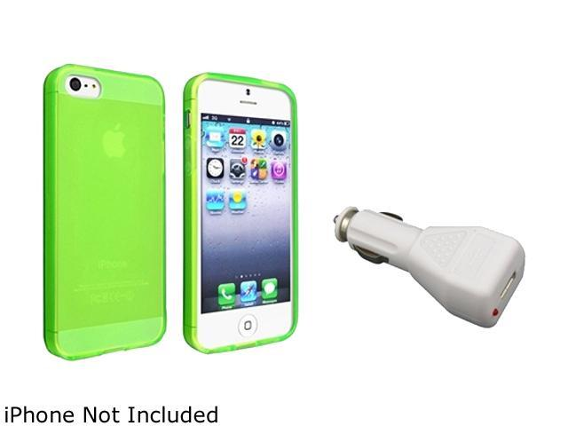 Insten Green TPU Case + White Car Charger Adapter compatible with Apple iPhone 5 1299726