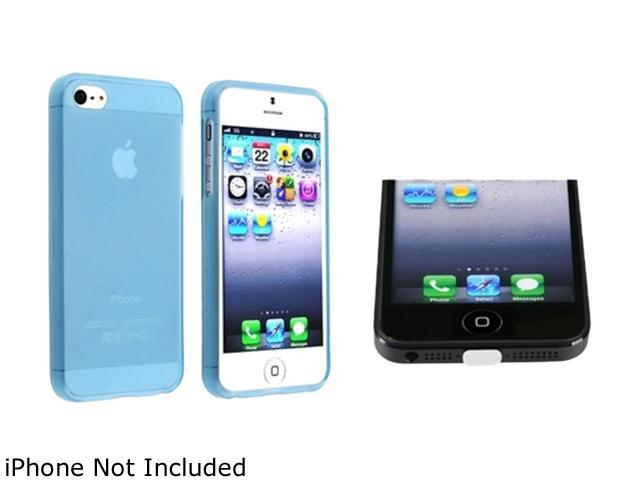 Insten Light Blue TPU Case + Clear Docking Port Cap compatible with Apple iPhone 5 1299730