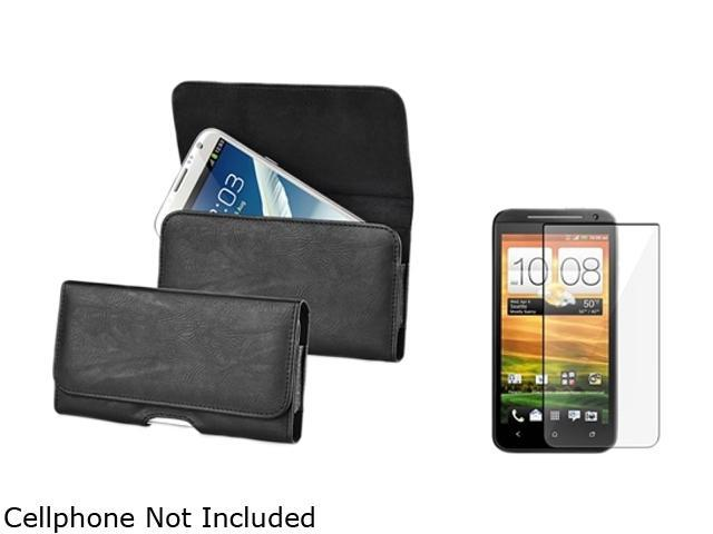 Insten Black Horizontal Leather Case with Screen Protector for HTC EVO 4G LTE 1412470