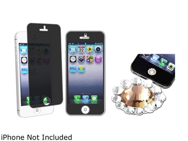 Insten Orange Diamond Home Button Sticker with Privacy LCD Screen Protector Film Cover compatible with Apple iPhone 5