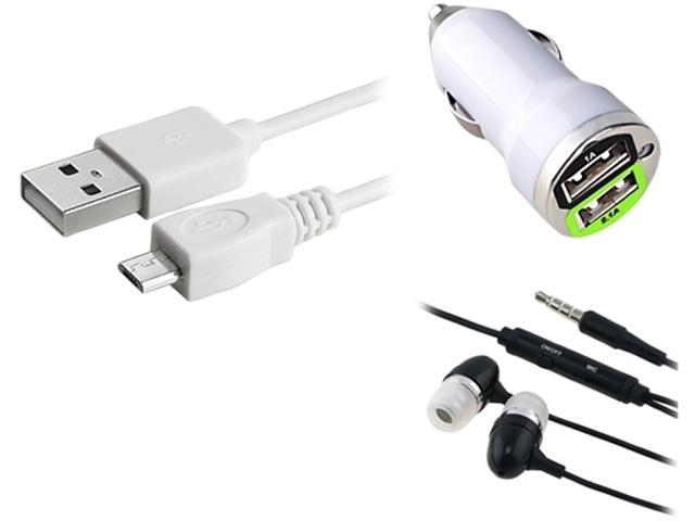 Insten White Micro USB 2- in-1 Cable + Black 3.5mm In-Ear Stereo Headset w/On-off & Mic + White Dual USB Mini Car Charger ...
