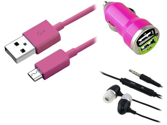 Insten Hot Pink Micro USB 2- in-1 Cable + Black 3.5mm In-Ear Stereo Headset w/On-off & Mic + Hot Pink Dual USB Mini Car Charger Adapter for HTC One X S V EVO 4G Inspire 4G