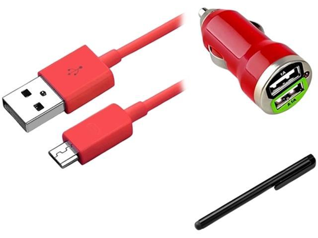 Insten Red Micro USB 2- in-1 Cable + Red Dual USB Mini Car Charger Adapter + Black Touch Screen Stylus for HTC Droid Incredible EVO 3D Amaze 4G One VX