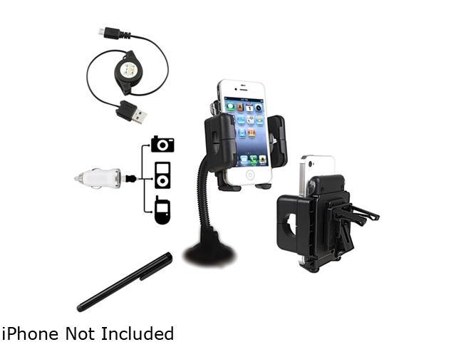 Insten Black Swivel Windshield Phone Holder + Black [2-in-1] Micro USB Cable + White USB Mini Car Charger Adapter Bundle Compatible With Samsung Galaxy S3 i9300 Note 2