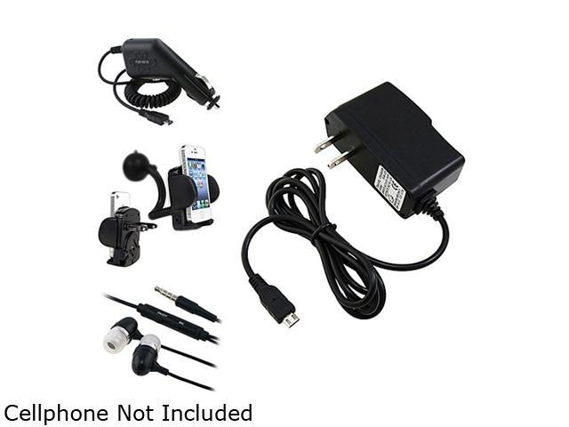 Insten Black Travel Charger + Black Car Charger (Micro USB) + Black In-Ear Headset w/ On-off & Mic Bundle Compatible With Samsung Galaxy S3 i9300 i9500 S4 IV