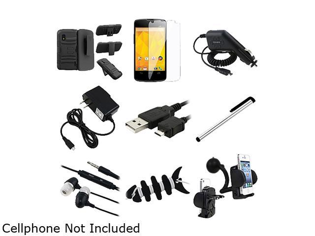 Insten Black Skin/ Black Hard Hybrid Armor Case w/ Stand + Black Travel Charger + Screen Protector Bundle Compatible With LG Nexus 4 E960