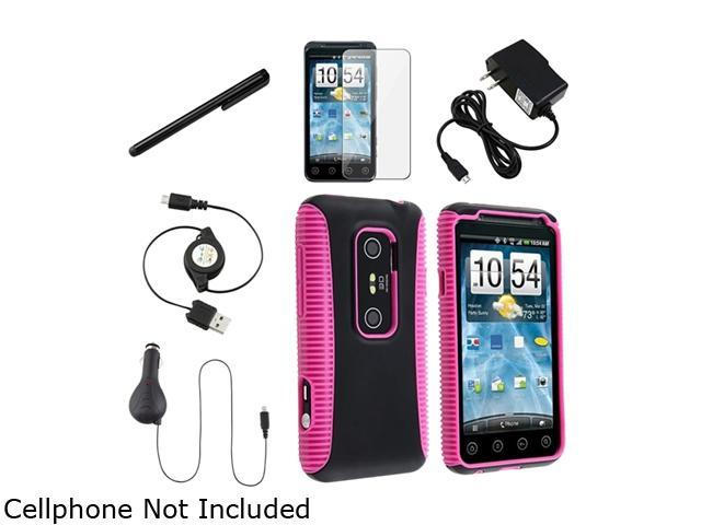 Insten Hot Pink TPU / Black Plastic Hybrid Case + Black Travel Charger + Screen Protector Bundle Compatible With HTC EVO 3D