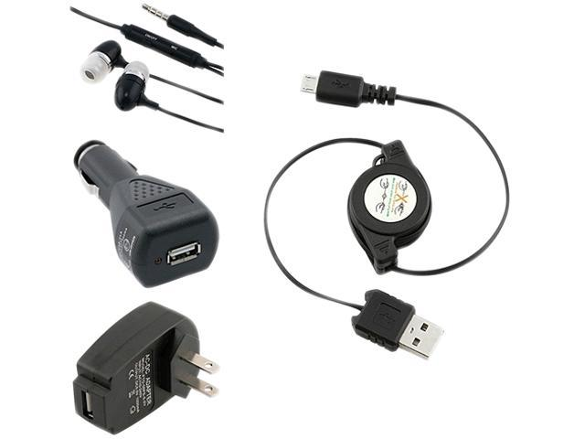 Insten 3-in-1 USB Car AC Charger + Black Headset Compatible with Samsung Galaxy S3 i9300 S4 i9500 i8190