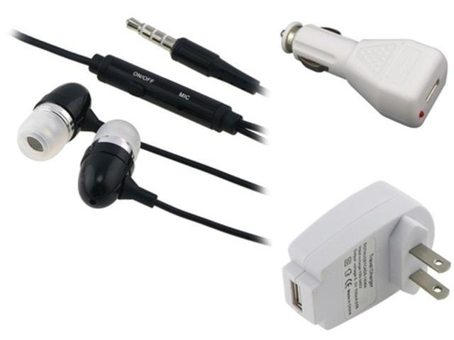 Insten White AC Car Charger + Black Headset Compatible with Samsung Galaxy S3 SIII i9300 i9500 S4