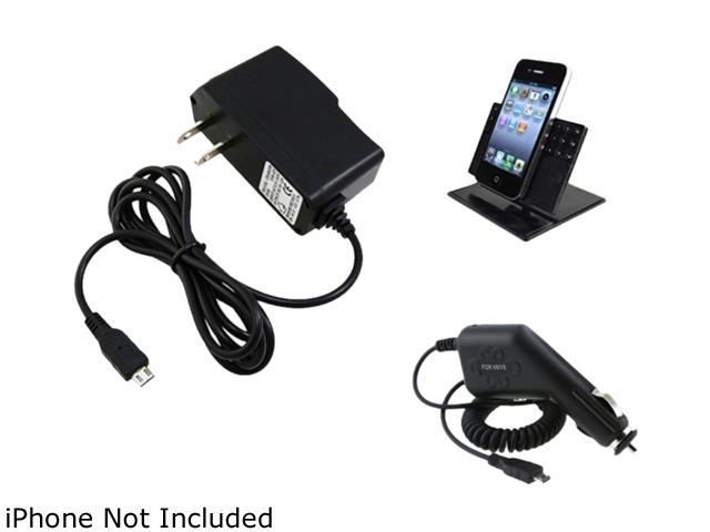 Insten Holder Stand + Car AC Charger Compatible with Samsung Galaxy S3 i9300 S4 i9500 N7100 T989