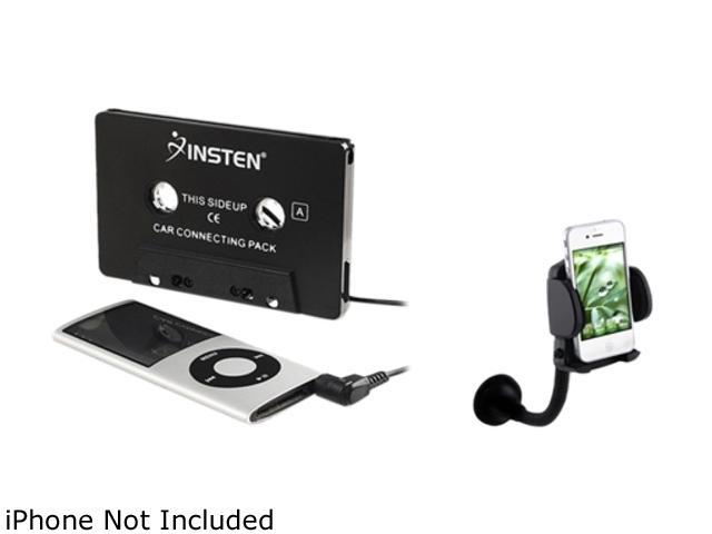 Insten Black Car Audio Tape Adapter Set Compatible with Samsung Galaxy S3 i9300 S4 i9500 SIV