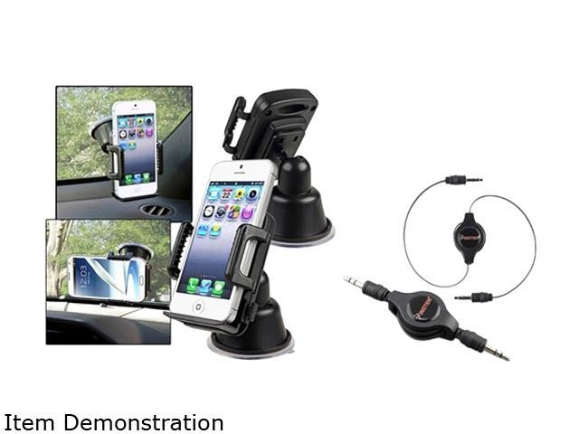 Insten Retractable Audio Cable + Mount Compatible with Samsung Galaxy S 2 i9100 SIV S4 i9500