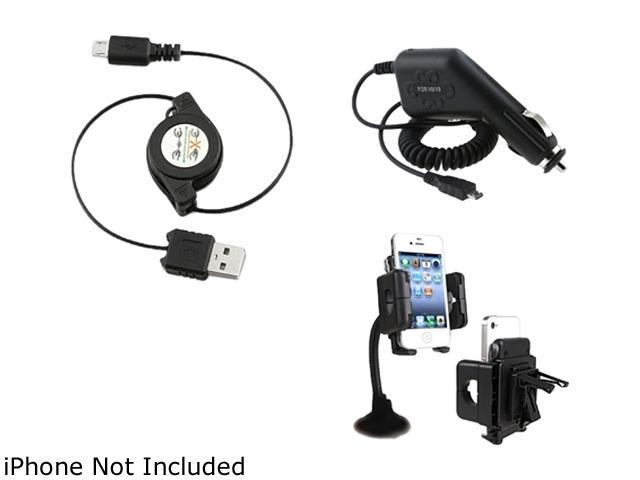 Car Charger + Holder + Insten USB Compatible with Samsung Galaxy S3 i9300 S4 i9500 i8190 i777