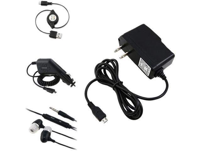 Insten USB Cable + Car Home Chargers + Black Headset Compatible with Samsung Galaxy S3 SIII i9300 S4 i9500