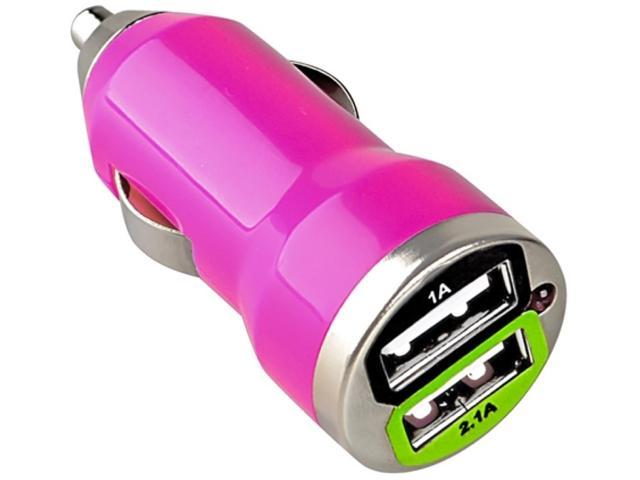 Insten Dual USB Mini Car Charger Adapter Compatible with Blackberry Z10, Hot Pink