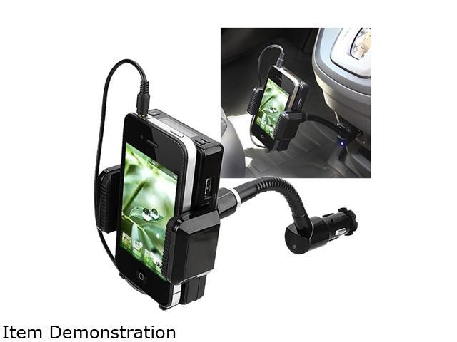 Insten All-in-One FM Transmitter w/ 3.5-mm Audio Cable and Mic Compatible with Blackberry Z10, Black