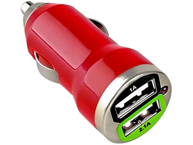 Insten Dual USB Mini Car Charger Adapter Compatible with HTC One M7, Red