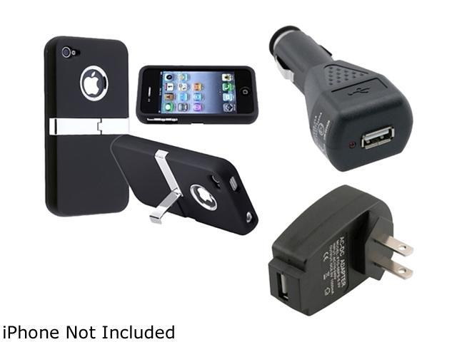 Insten Black Chrome Stand Rubber Coated Case with Travel/Wall Charger Adapter AND Car Charger Adapter compatible with Apple iPhone 4 / 4S