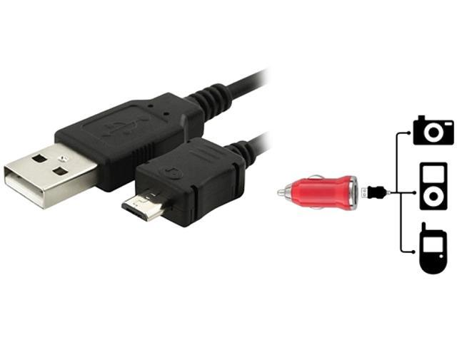 Insten Red USB Mini Car Charger Adapter with Black USB Data Charging Cable Compatible with Blackberry Storm 9500 Curve 8900, LG AX300 AX830, Motorola RAZR2 V8 V9 V9m Q9 Q Global ROKR E8
