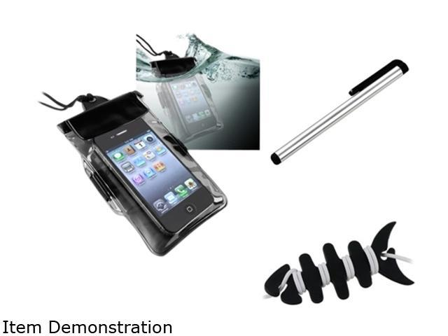Insten Black Headset Smart Wrap, Black Fishbone + Black Waterproof Bag Case for Cell Phone/PDA + Silver Touch Screen Stylus for Samsung Galaxy S3 Mini i8190