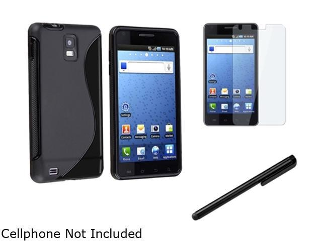 Insten Black S Shape TPU Rubber Skin Case + Reusable Screen Protector + Black Touch Screen Stylus Compatible With Samsung Infuse 4G SGH-i997