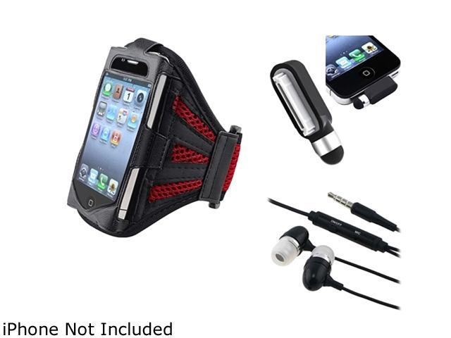 Insten Black/Red Deluxe ArmBand + Black Stylus w/Dust Cap + Black 3.5mm In-Ear Stereo Headset w/On-off & Mic Compatible With Apple iPhone 4 4S