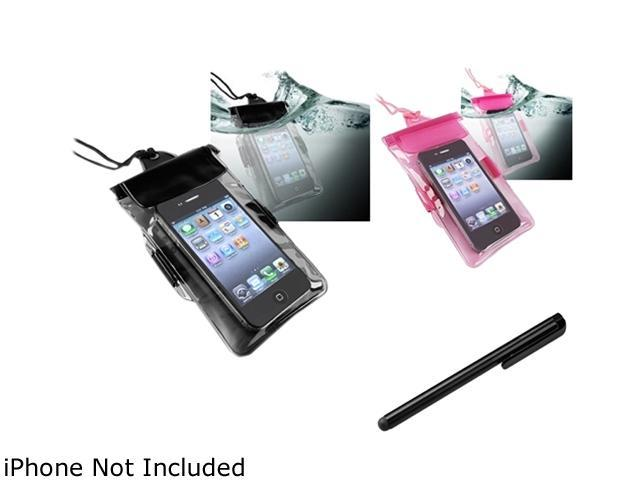 Insten Black Waterproof Bag Case for Cell Phone/PDA + Hot Pink Waterproof Bag Case for Cell Phone/PDA + Black Touch Screen Stylus for Samsung Galaxy Pocket S5300 Ace2 Mini2