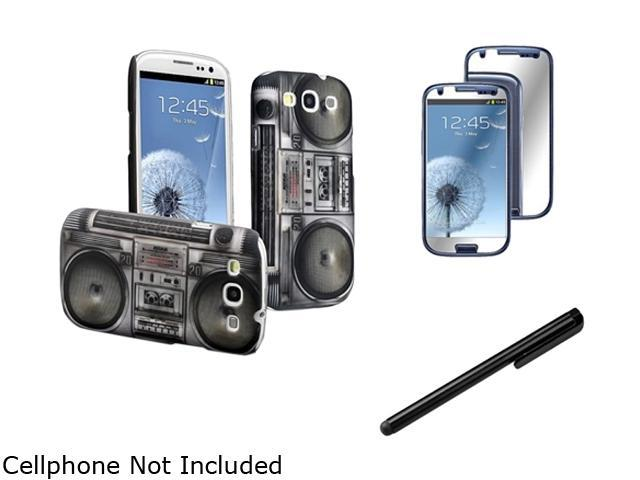 Insten Black Radio Recorder Snap-on Rubber Coated Case + 3X Mirror Screen Protector + Black Touch Screen Stylus Compatible With Samsung Galaxy SIII/S3