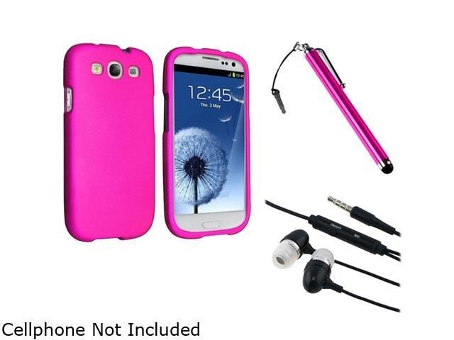 Insten Pink Touch Screen Stylus + Black 3.5mm In-Ear Stereo Headset w/On-off & Mic + Hot Pink Snap-on Rubber Coated Case Compatible With Samsung Galaxy SIII/S3