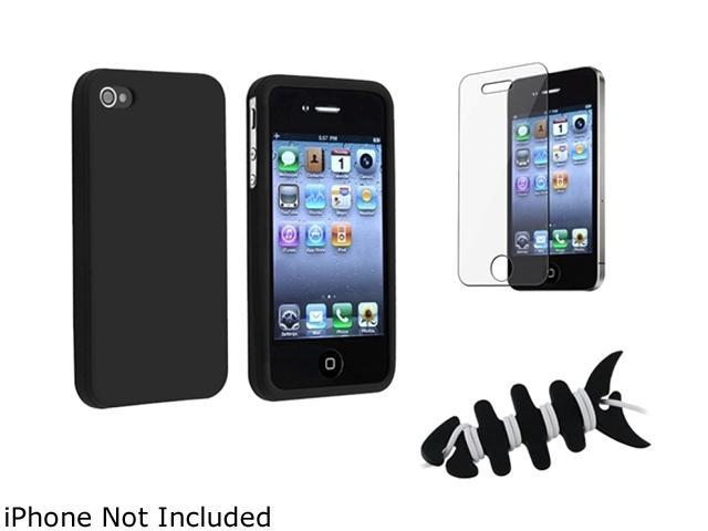 Insten Black Silicone Skin Case + Reusable Screen Protector + Black Headset Smart Wrap, Black Fishbone Compatible With Apple iPhone 4 4S