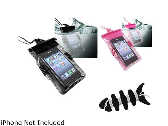 Insten Black Headset Smart Wrap, Black Fishbone + Black Waterproof Bag Case for Cell Phone/PDA + Hot Pink Waterproof Bag Case for Cell Phone/PDA for LG Cosmos Touch Optimus 2X G2X L5